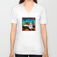 shih tzu V-neck T-shirts featuring Shih Tzu by RobiniArt