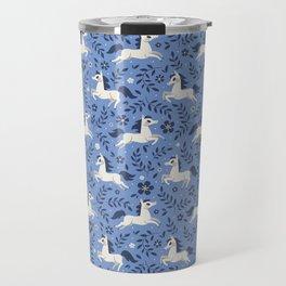 Floral Ponies (Light Blue) Travel Mug