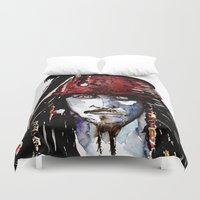 johnny depp Duvet Covers featuring Captain Jack Sparrow - Johnny Depp Watercolor by Siriusreno