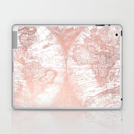 Rose Gold Pink Antique World Map by Nature Magick Laptop & iPad Skin