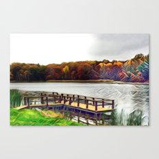 Autumn Leaves on the River Canvas Print