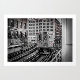 El Train Departing Merchandise Mart Chicago Train L Train Windy City Transit CTA Art Print