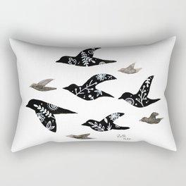 Patterned Birds Rectangular Pillow