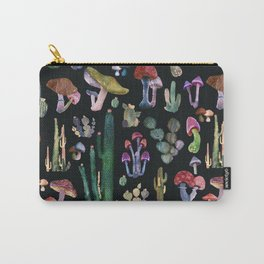 Black cactus and Mushrooms Carry-All Pouch