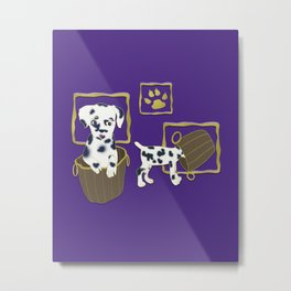 Purple puppy antics | Puppies at play Metal Print