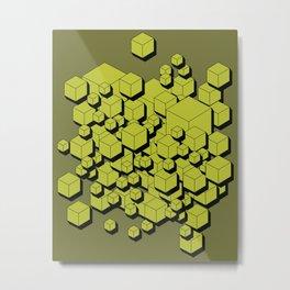 3D Futuristic Cubes V Metal Print