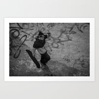 skate Art Prints featuring Skate by Am sans col ni cravate
