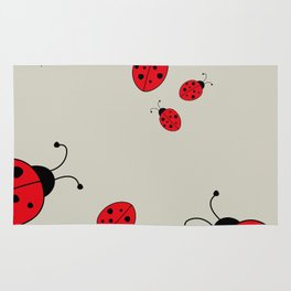 Ladybugs-Beige+Red Rug