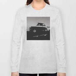 Fiat 500 classic, Gray on Black Long Sleeve T-shirt