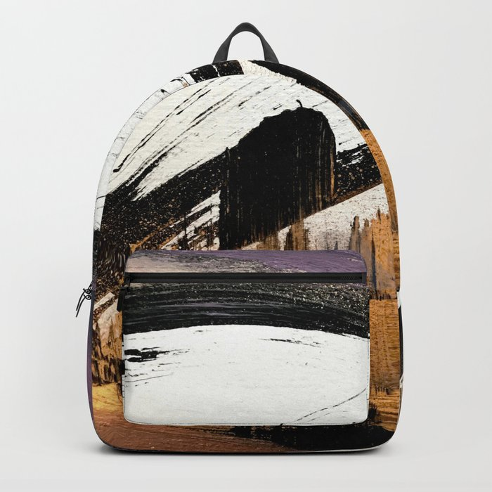 Axis [1]: a bold, minimal abstract in gold, purple, blue, black and white Backpack