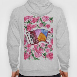 Accordion with pink roses Hoody