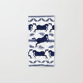 Ancient Greek Fresco - Navy Hand & Bath Towel