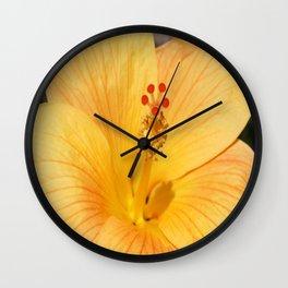 Golden Hibiscus Wall Clock