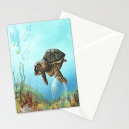 Green sea turtle swimming in ocean Stationery Cards