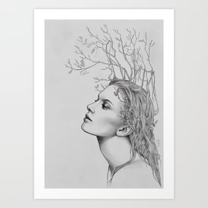 Lady November - digital painting Art Print