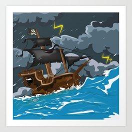 Pirate Ship in Stormy Ocean Art Print