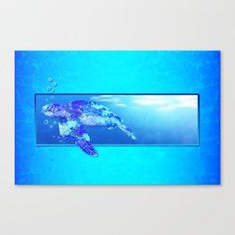 Underwater Swimming Sea Turtle Canvas Print