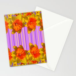 Orange-Yellow Daffodils Lilac Vision Stationery Cards