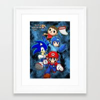 smash bros Framed Art Prints featuring Super Smash Bros  by Blaze-chan