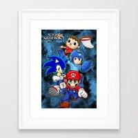 super smash bros Framed Art Prints featuring Super Smash Bros  by Blaze-chan