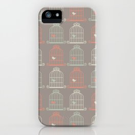 Bird Cage Pattern, Illustration, Shabby Chic, Vintage, iPhone Case