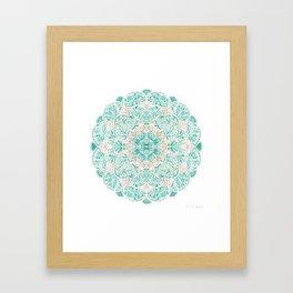 SO SHELLULAR Mint + Rose Gold Shell Mandala Framed Art Print