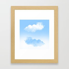 white and blue clouds Framed Art Print