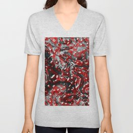 Red and Black Abstract Liquid Gore Pattern Unisex V-Neck