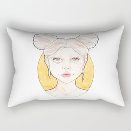 Clio, a Girl with Pink and Blue Streaked Blonde Hair Watercolor Illustration Rectangular Pillow