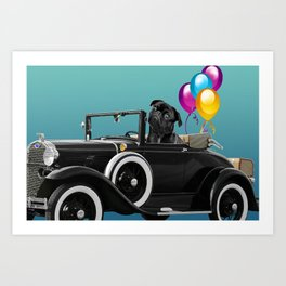 Pug sitting in cabriolet car with color Balloons  Art Print