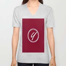 Monogram - Letter Y on Burgundy Red Background Unisex V-Neck