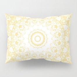 White Lace Mandala on Sunshine Yellow Background Pillow Sham