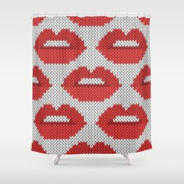 Lips pattern - white Shower Curtain