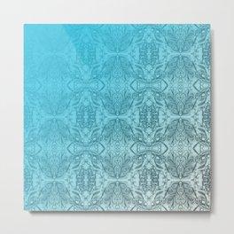 Blue Gradient Floral Doodle Pattern Metal Print