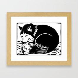 Black and White Sleeping Husky Framed Art Print