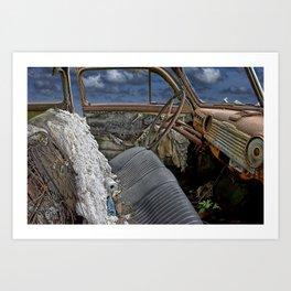 Auto Interior of Abandoned Vehicle Art Print