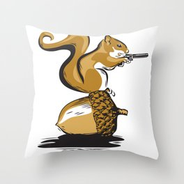 Back Off!  (Nutty Squirrel) Throw Pillow