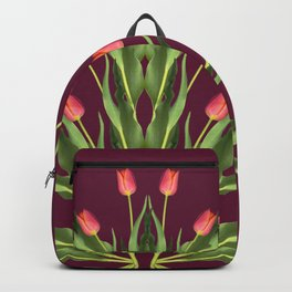 Burgundy and tulips Backpack