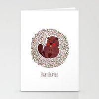 beaver Stationery Cards featuring Baby Beaver by haidishabrina