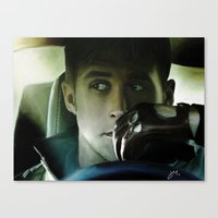 ryan gosling Canvas Prints featuring Ryan Gosling - Drive by Helena McGill