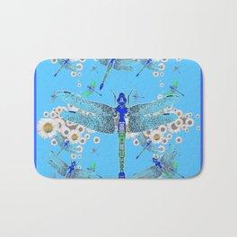 BLUE DRAGONFLIES LILAC WHITE DAISY FLOWERS  ART Bath Mat