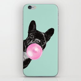 Bubble Gum Sneaky French Bulldog in Green iPhone Skin