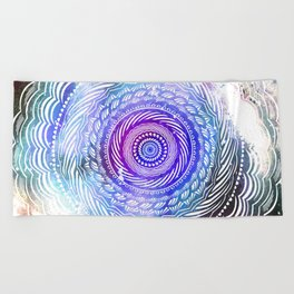 Modern Mandala Spiral Galaxy Space Textured Multi Colored / Purple Pink Orange Gray Black Beach Towel