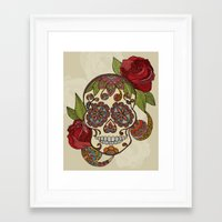 sugar skull Framed Art Prints featuring Sugar Skull by Valentina Harper