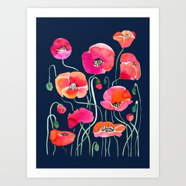 Wild Poppies Dark Art Print