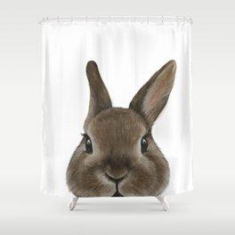 Netherland Dwarf rabbit illustration original painting print Shower Curtain
