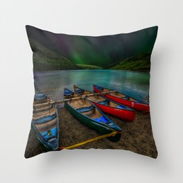 Lake Geirionydd Canoes Throw Pillow