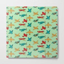 Airplanes - Green Metal Print