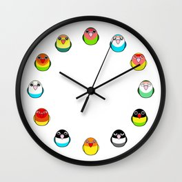 Lovebird colour mutations Wall Clock