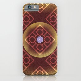 Abstract colorful flowers on darck brown background pattern iPhone Case